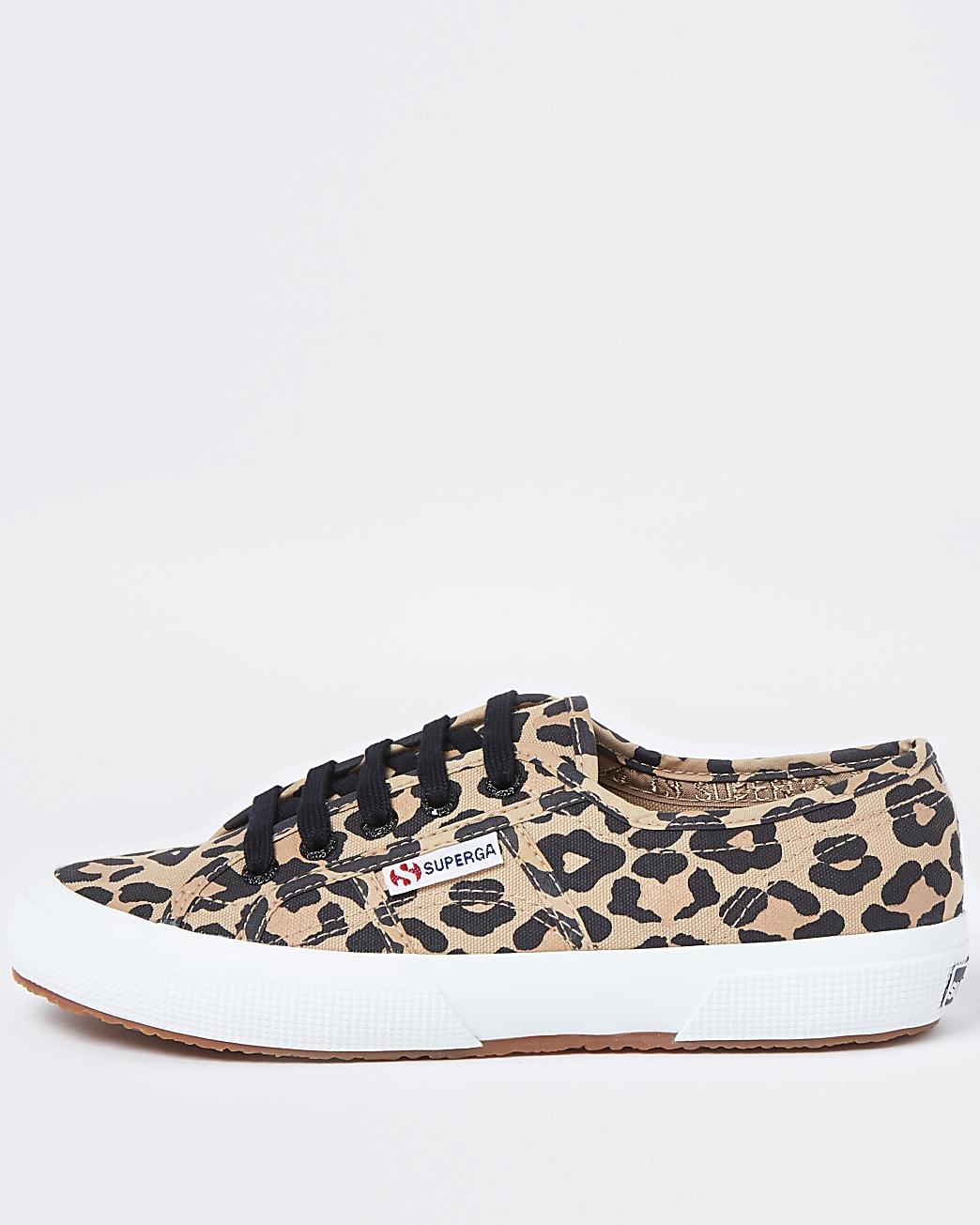 Superga brown leopard classic canvas trainers
