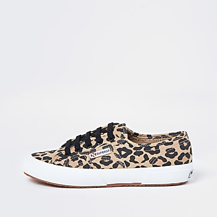Superga brown leopard print lace up trainers