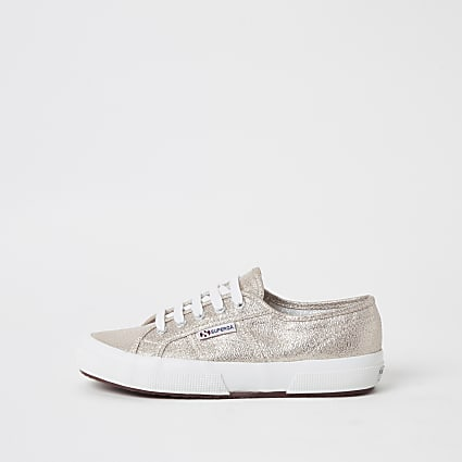 Superga gold metallic classic trainers
