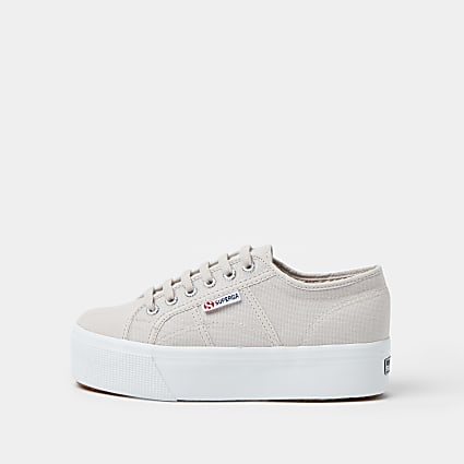 Superga grey core flatform trainers