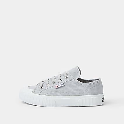 Superga grey rubber toe canvas trainers