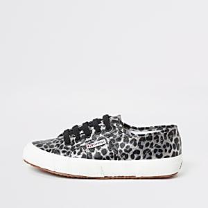 Superga – Silberne Lauf-Sneaker mit Leopardenprint