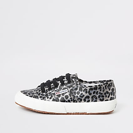 Superga silver leopard print runner trainers