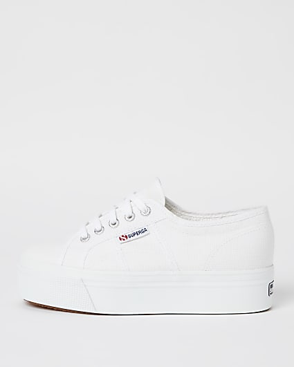 Superga white canvas chunky flatform trainers