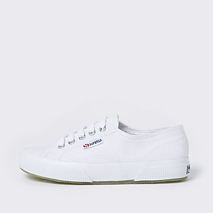 Superga white canvas lace up plimsolls