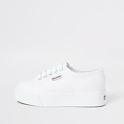 Superga white flatform runner trainers