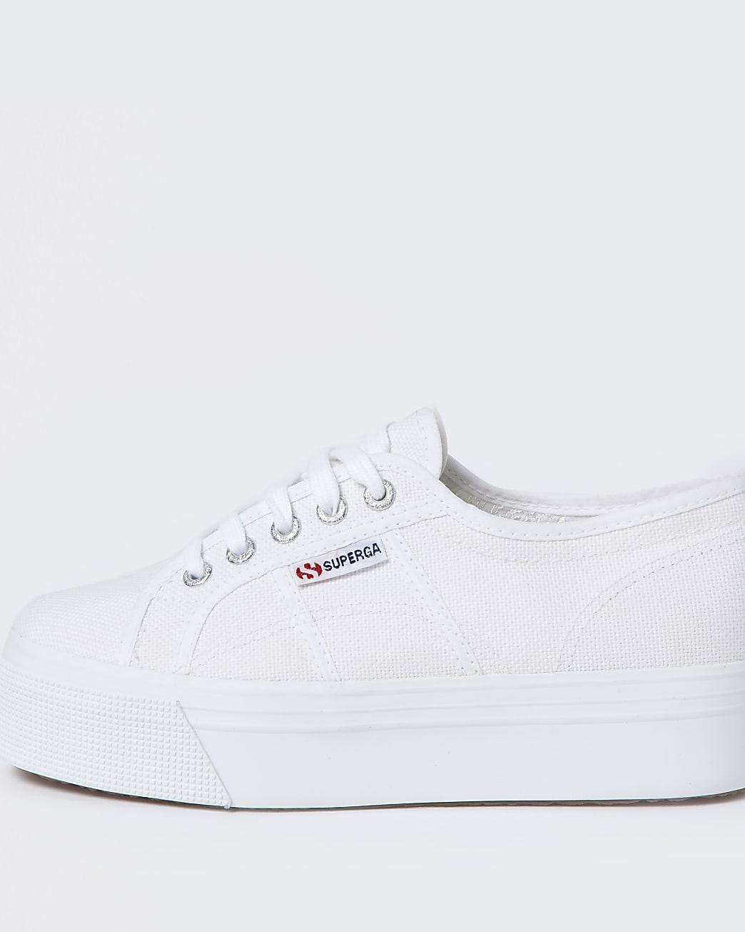Superga white lace up flatform trainers