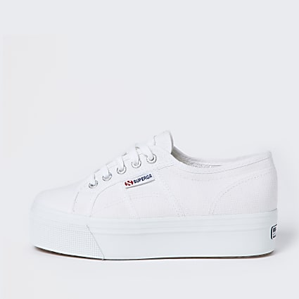 Superga white lace up flatform trainers