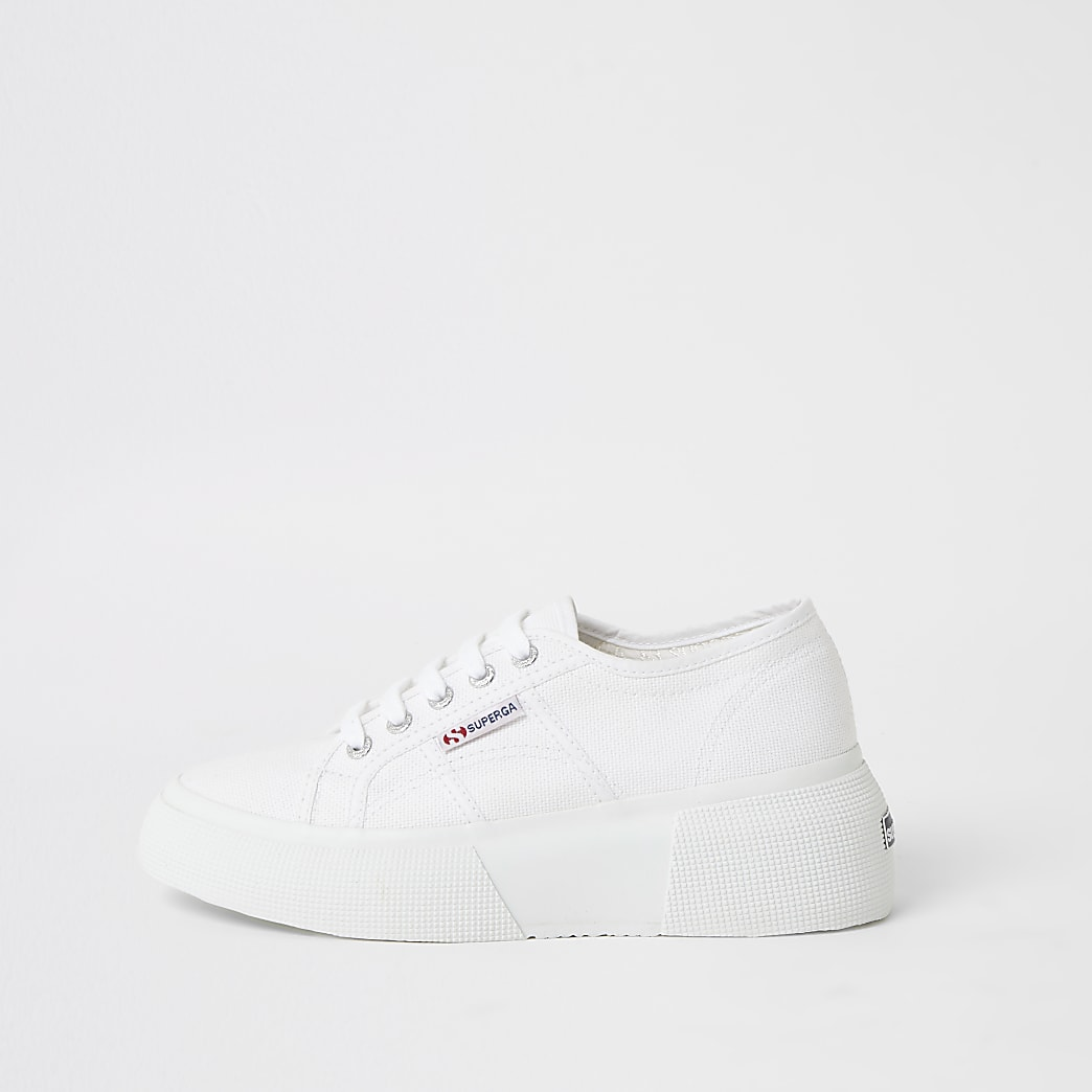 Superga white lace-up platform trainers