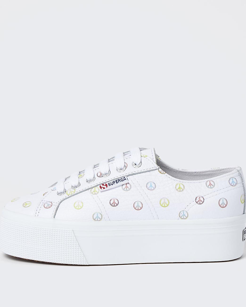 Superga white peace print flatform trainers
