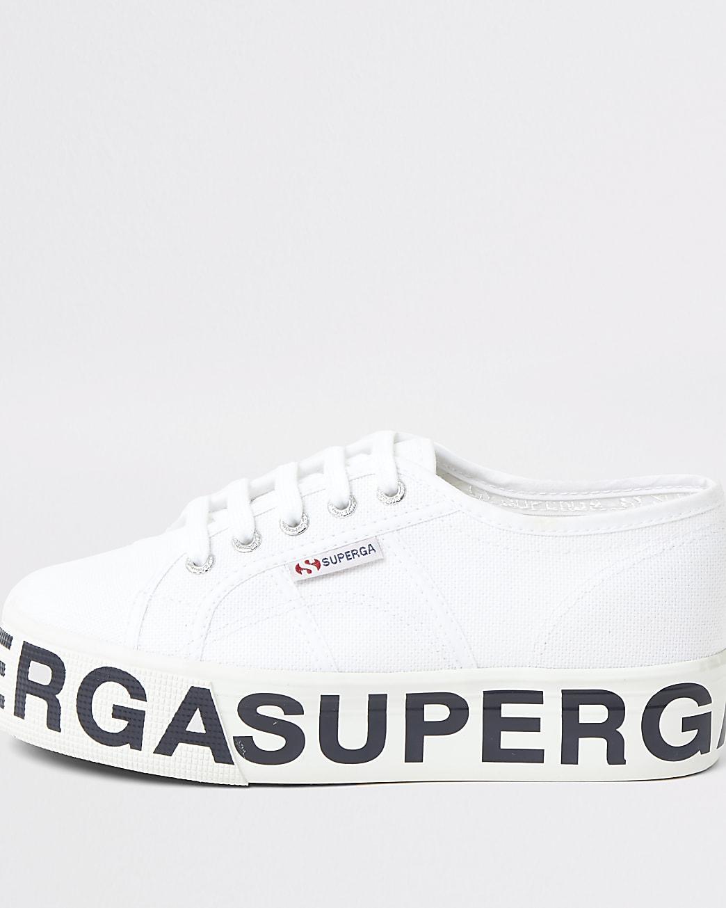 Superga white platform runner trainers