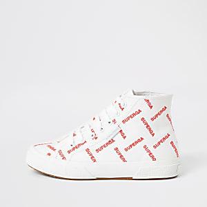 Superga white printed high top trainers