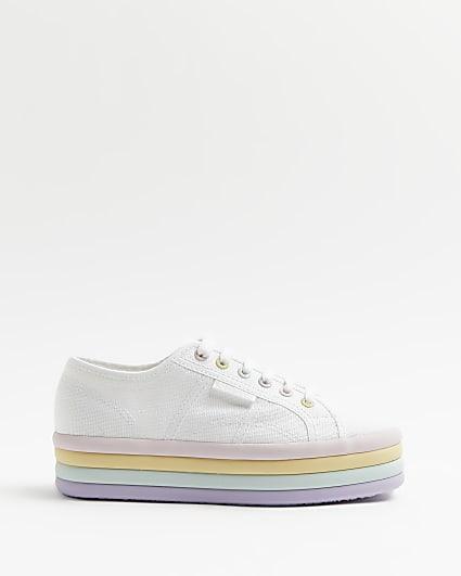 Superga white rainbow flatform trainers