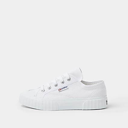 Superga white rubber toe canvas