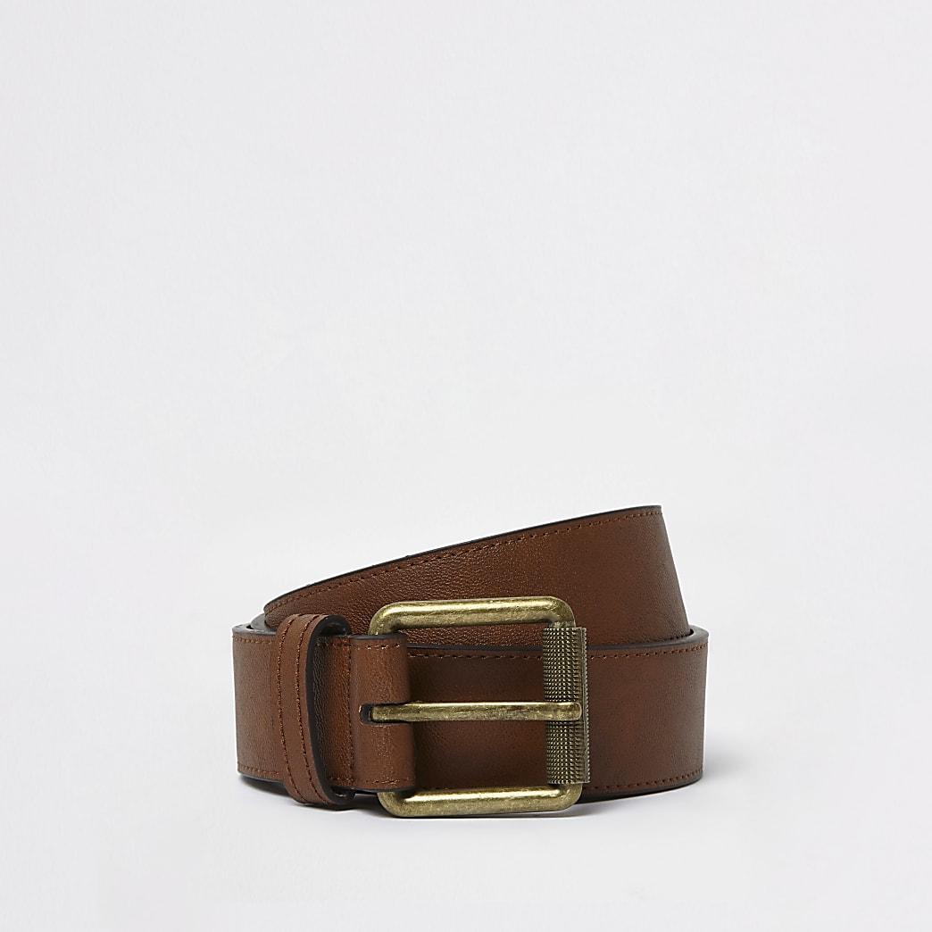 Bruine jeansriem met vierkante gesp