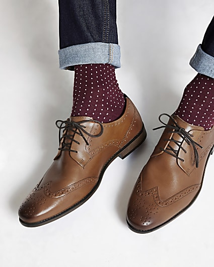 Tan leather lace-up brogues