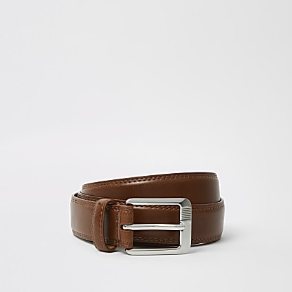 Tan RI monogram belt
