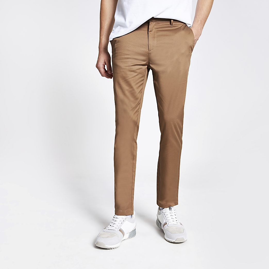 Tan skinny fit chino trousers