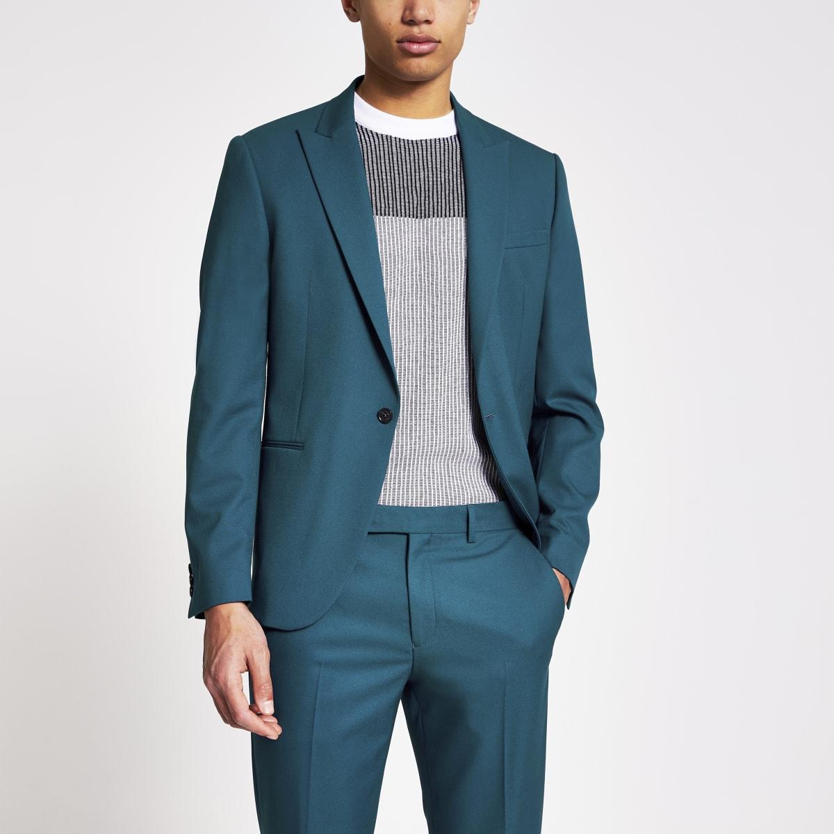 Groenblauwe skinny-fit stretch blazer