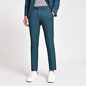Teal skinny fit stretch suit trousers