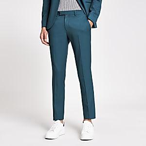 Blaugrüne Skinny Fit Stretch-Anzughose