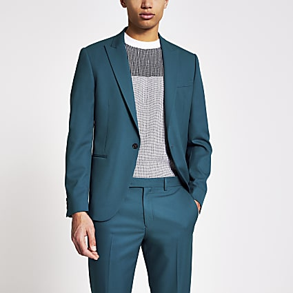 Teal skinny fit suit jacket