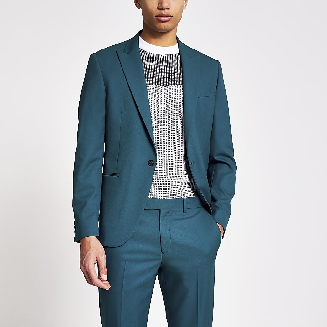Teal skinny fit suit jacket