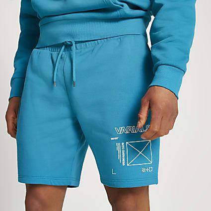 Teal Varials print slim fit shorts