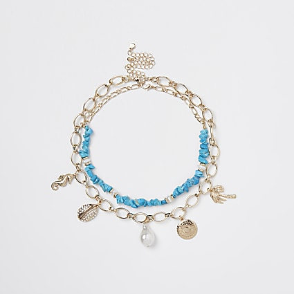 Turquoise & gold shell charm necklace