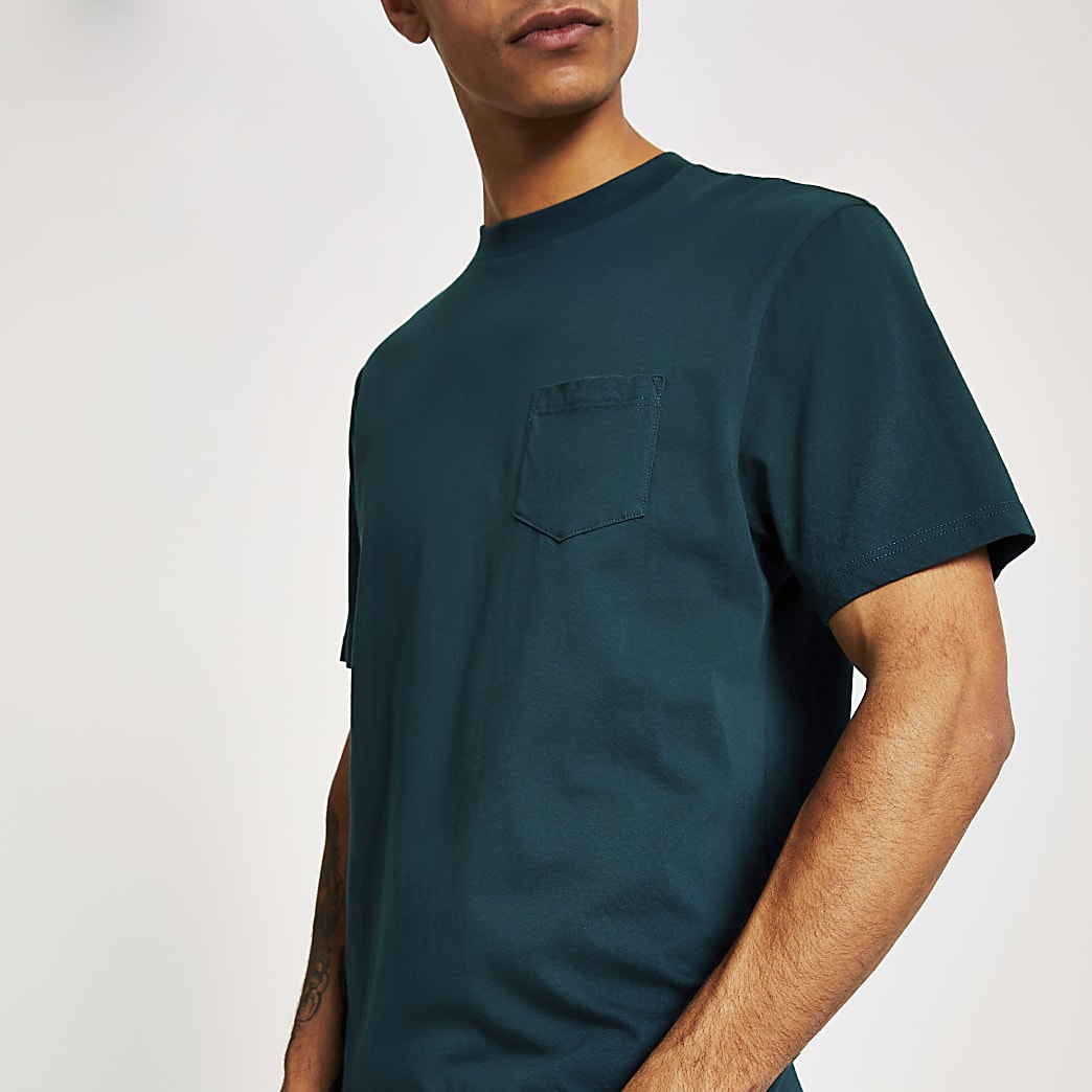 Turquoise chest pocket short sleeve T-shirt
