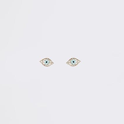 Turquoise diamante eye stud earrings