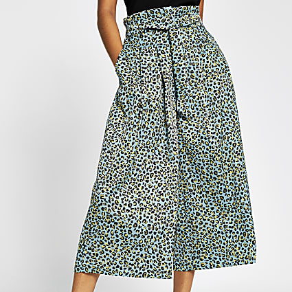 Turquoise leopard print tie culottes