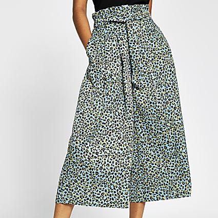 Turquoise leopard print tie culottes