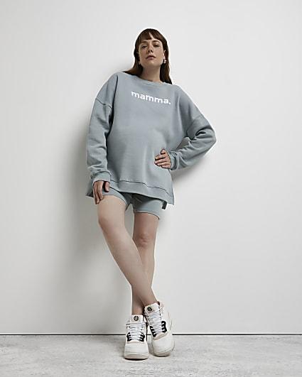 Turquoise maternity sweatshirt and shorts set