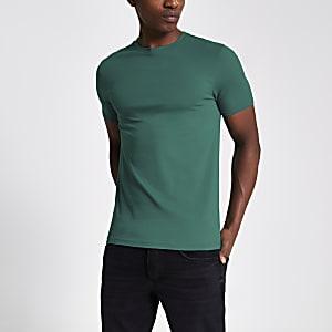 Turquoise muscle fit T-shirt met korte mouwen