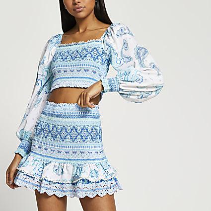 Turquoise Shirred Mini Beach Skirt