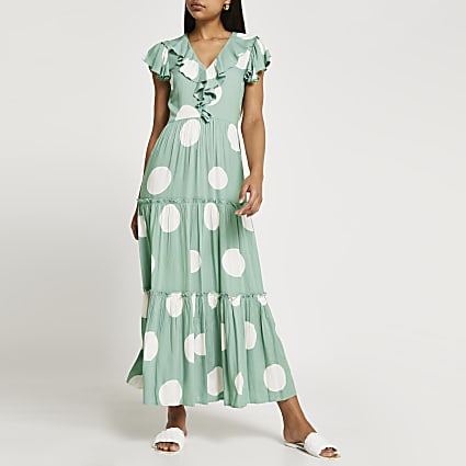 Turquoise short sleeve frill tier midi dress