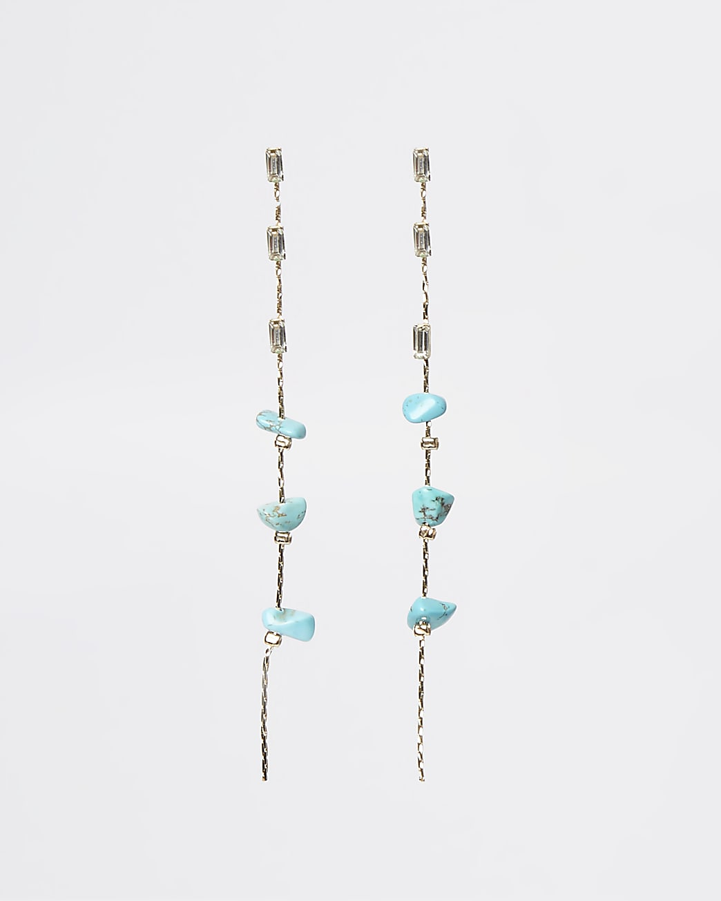 Turquoise stone detail drop earrings