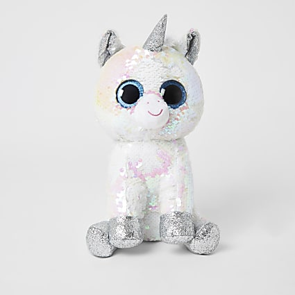 TY white sequin embellished unicorn