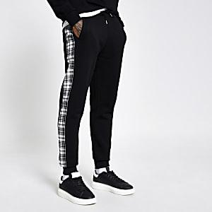 Undefined– Pantalon de jogging noir avec bande latérale à carreaux