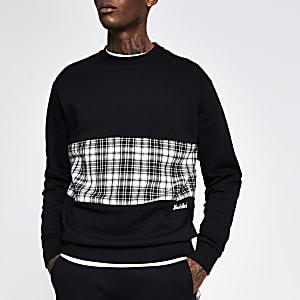 Undefined – Schwarzes Slim Fit Sweatshirt mit karierter Blockbahn
