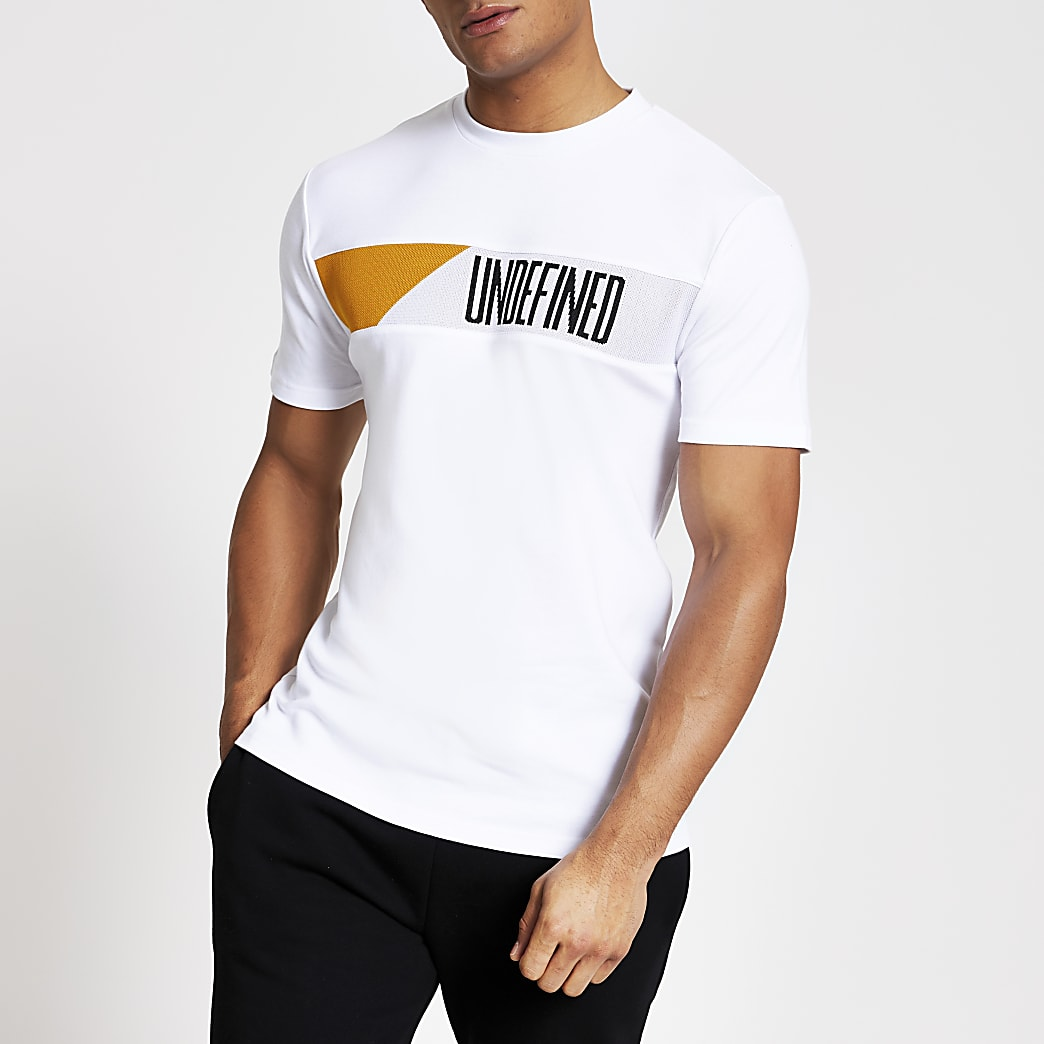 Undefined white blocked slim fit T-shirt