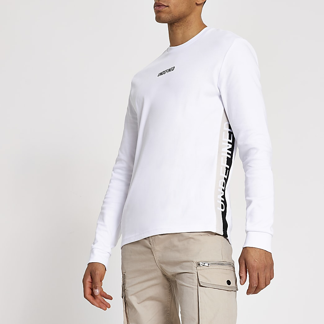 Undefined- Wit slim-fit T-shirt met tape opzij