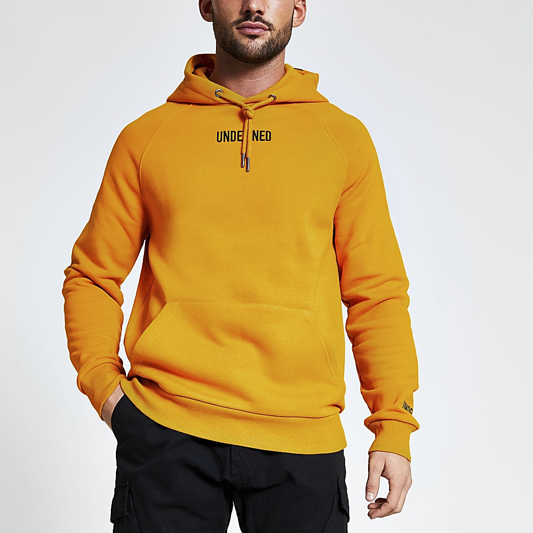 Undefined yellow regular fit hoodie