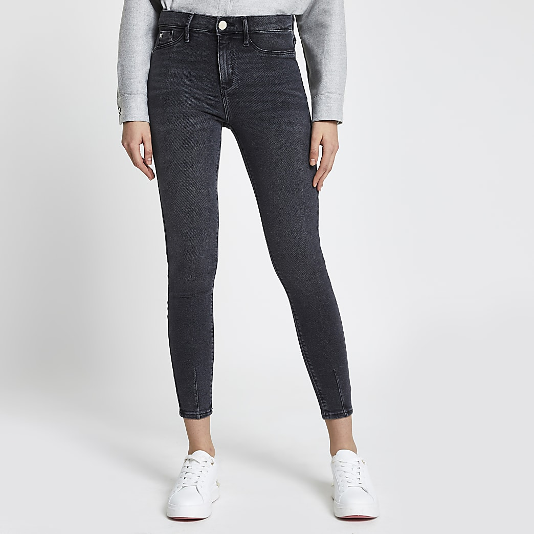 Washed Black Molly Mid Rise Skinny Jean