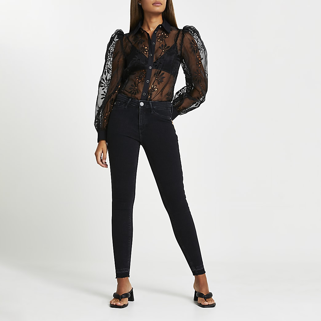 Washed Black molly mid rise skinny jeans