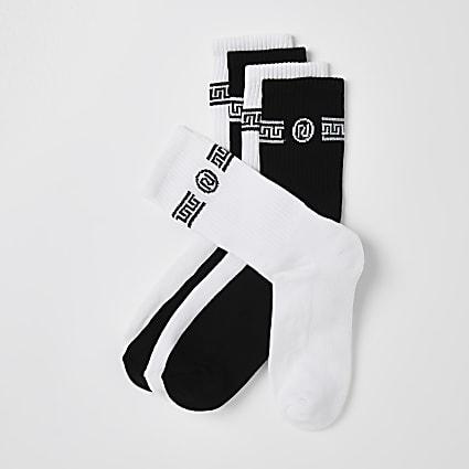 White & black Greek socks 5 pack