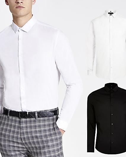 White & black long sleeve shirt 2 pack