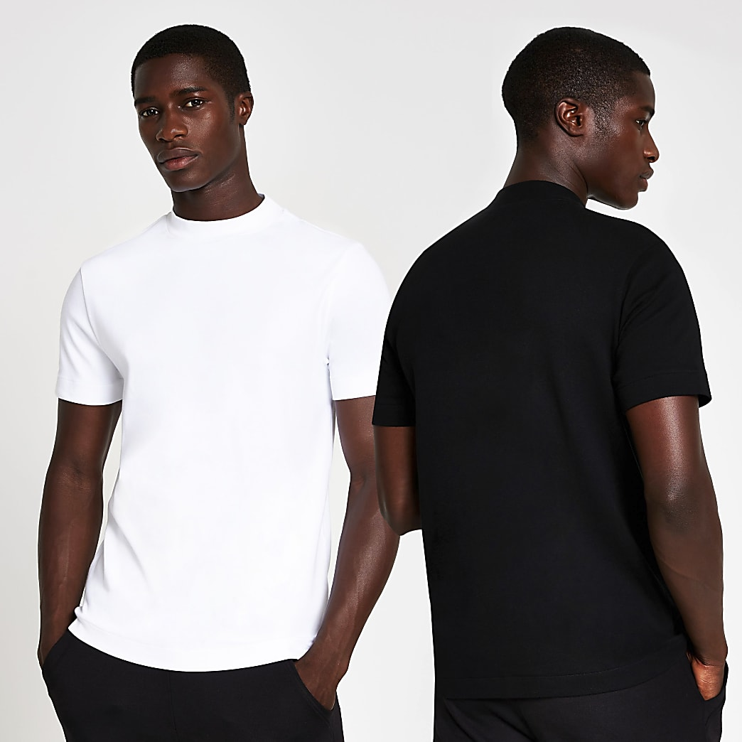 White & black premium slim fit t-shirt 2 pack