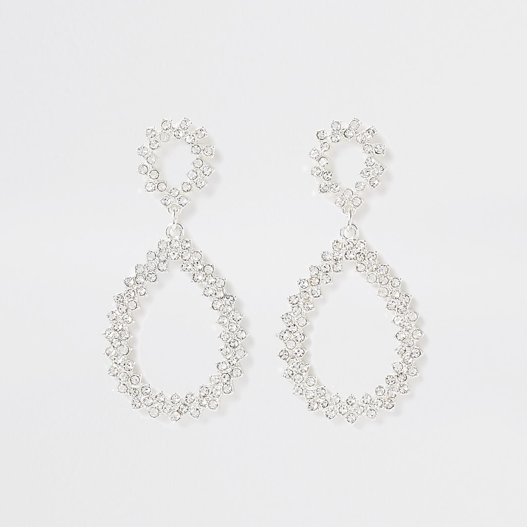 White  bright teardrop pave earrings
